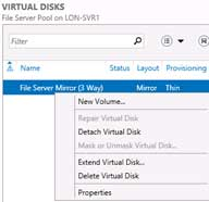 Right-click the new mirrored virtual disk, select New Volume