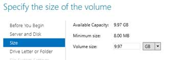 Choose the volume size