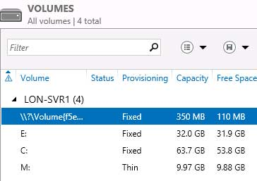 New volume shows up thinly provisioned