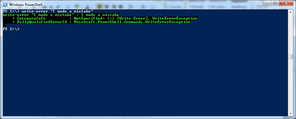 Color my PowerShell world; errors in green